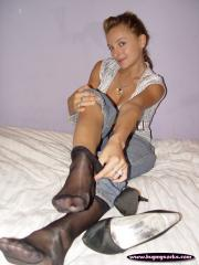 Lily's well worn pumps and worn black nylons (archive set)