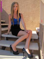Jessica on a lunch break in Stilleto Heels