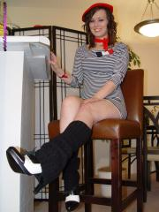 Megan in Legwarmers and Oxford High Heels