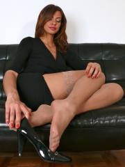 Goddess Isis After Work in worn stockings and pumps